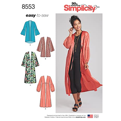 Amazon.com: Simplicity Pattern 8553 Misses Kimonos by Easy-To-Sew, Size XXS-XXL: Arts, Crafts & Sewing