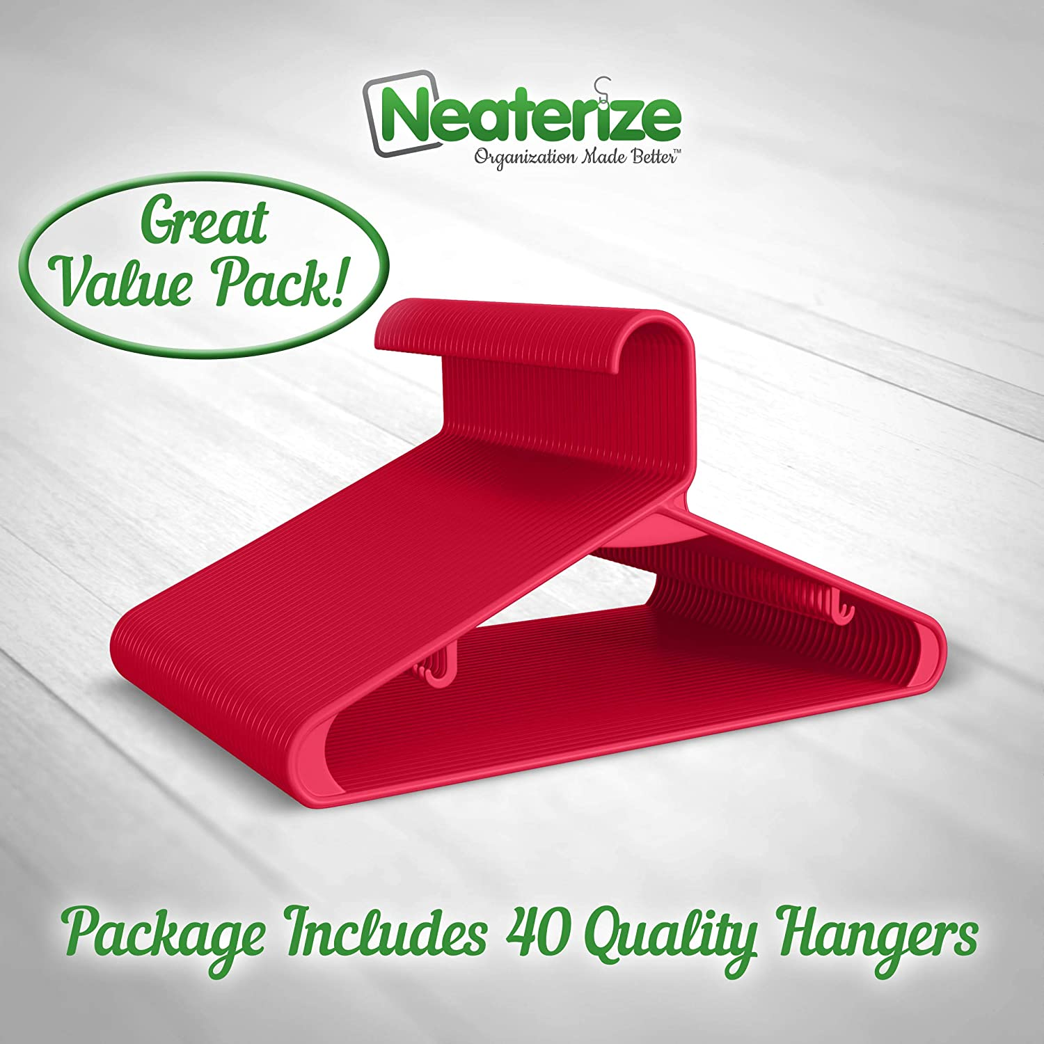 NEATERIZE Plastic Clothes Hangers 20 Pack - Brown 20 Vibrant Colors Adult Hangers 40 Heavy Duty Durable Coat and Clothes Hangers 60 Available Lightweight Space Saving Laundry Hangers