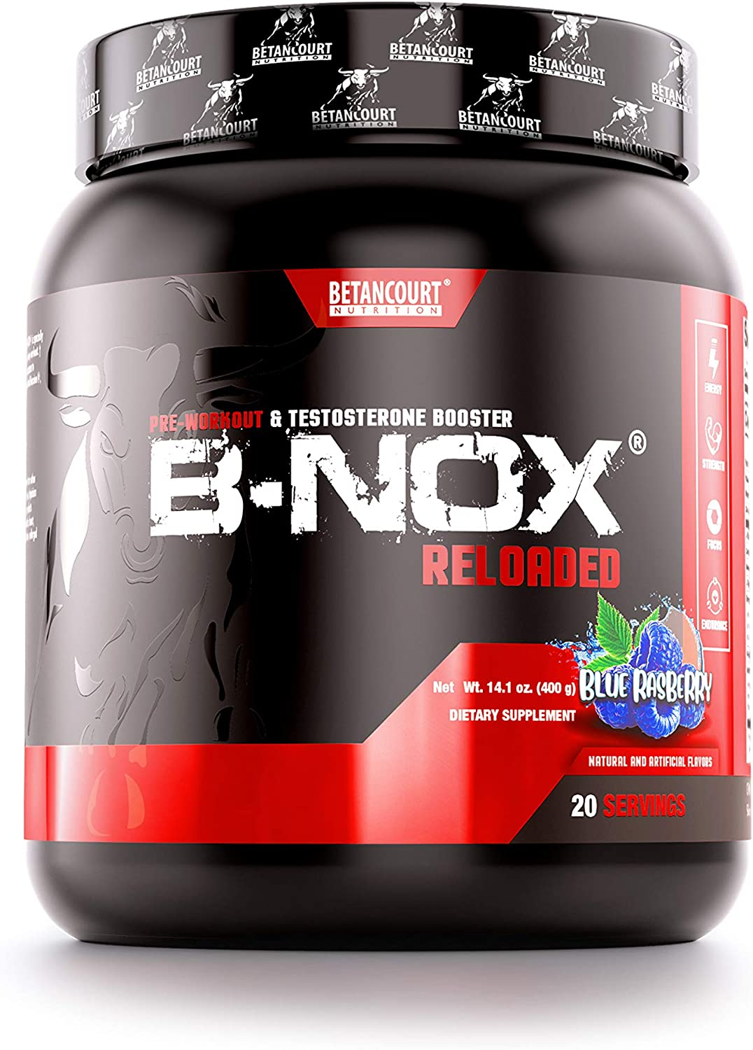 Betancourt Nutrition B-NOX Androrush Reloaded Pre-Workout and Testosterone Enhancer | Extra-Energy | Extra-Strength | Concentrated | Blue Rasberry | 14.1 Ounce | 20 Servings