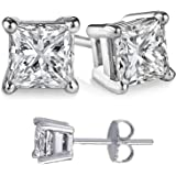 Unisex Solid Silver Princess Cubic Zirconia Square White Cz Stud Earrings. Solid Basket Settings