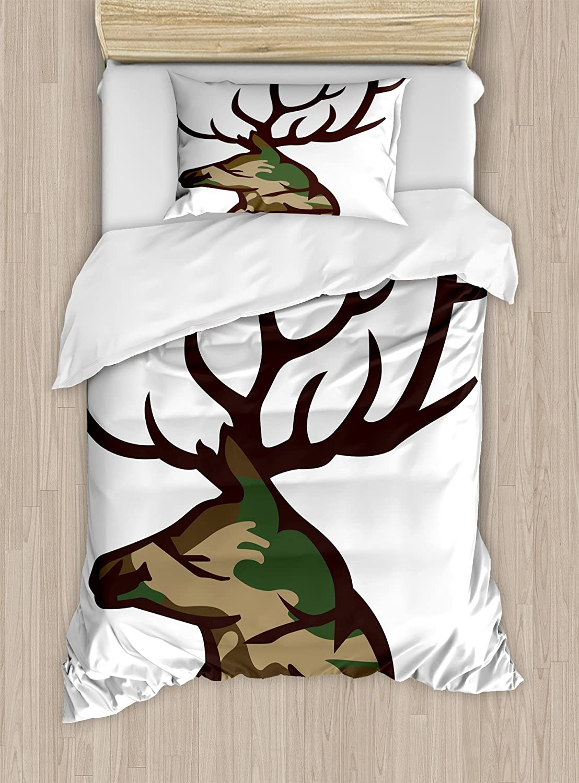 Decorative 2 Piece Bedding Set with 1 Pillow Sham Twin Size Grey Ambesonne Grey Duvet Cover Set Illustration of Weird Forest Animals in Retro Style Rabbit Fox Dear Wild Life Boho Artwork
