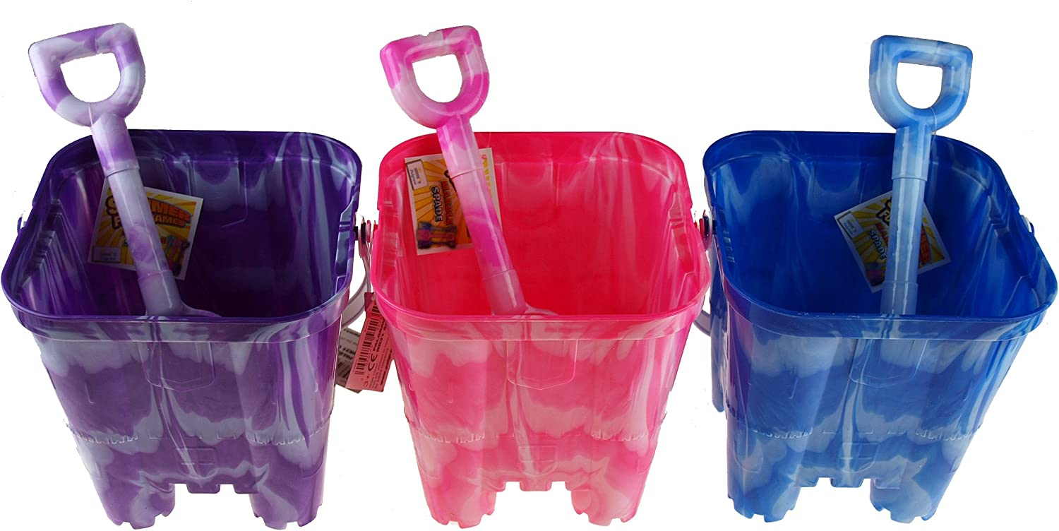 Brand New Marble Effect Castle Bucket Toys /& Games Assorted