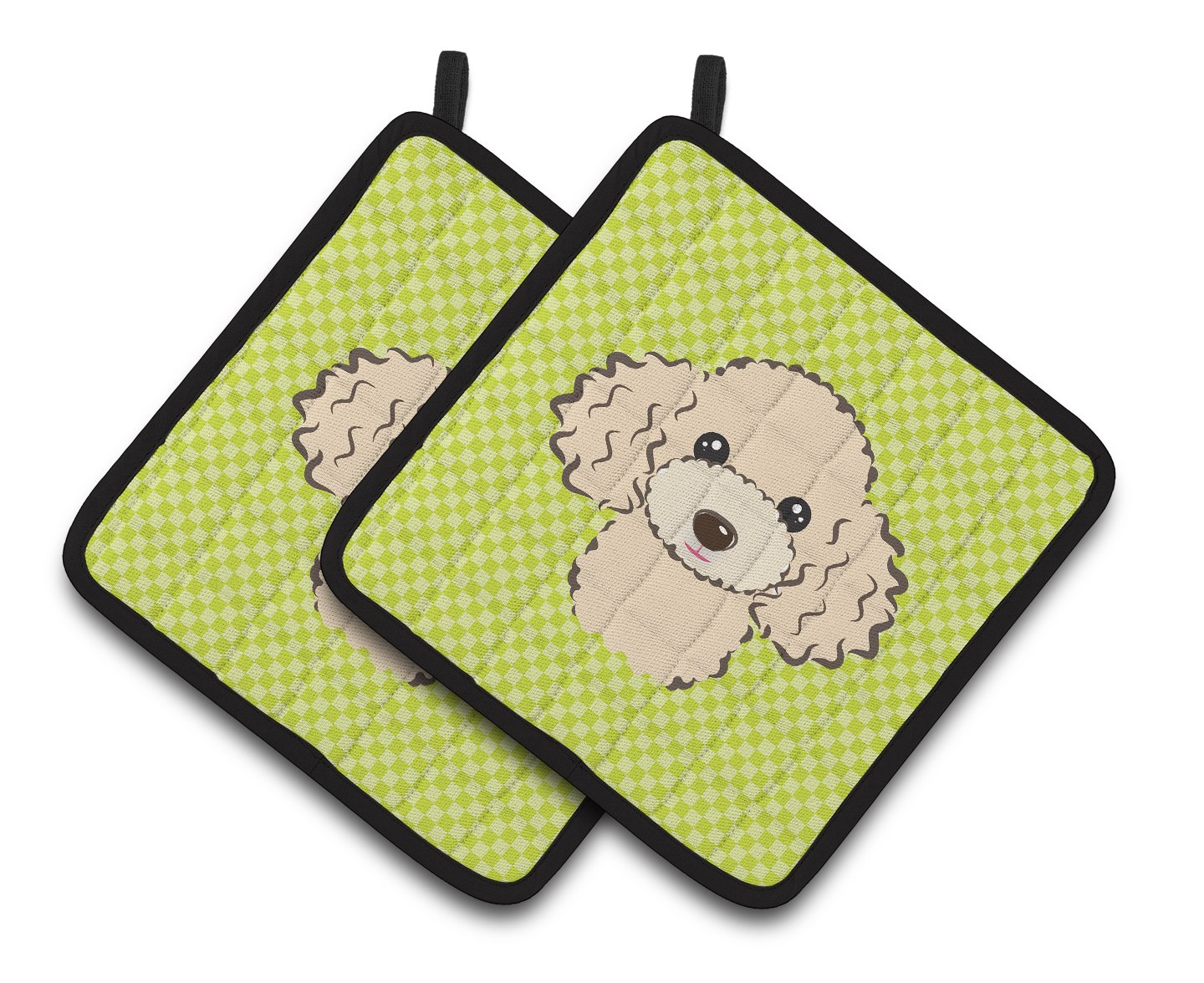 Carolines Treasures Checkerboard Lime green Buff Poodle Pair of Pot Holders BB1320PTHD 7.5HX7.5W Multicolor