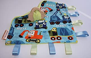 Teething baby blanket comforter - Trucks - organic wooden teething car - CE certified from birth