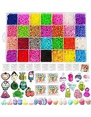 NEFUTRY 10000pcs Loom Kit, Rubber Bands Loom Refills for Kids DIY Bracelet Making Craft in 28, 10 Packs S Clips, 5 Packs Bead, 4 Packs Charms