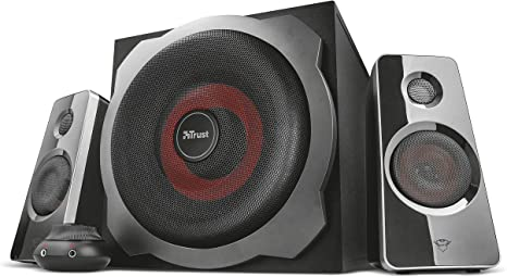 Trust Gaming GXT 4038 Thunder - Juego de altavoces 2.1 con subwoofer, color negro