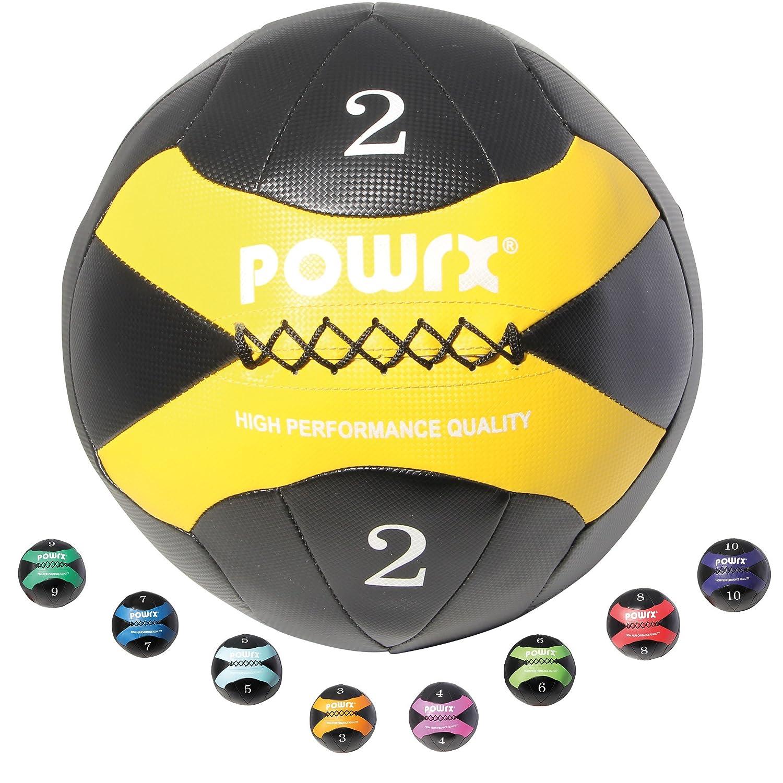 POWRX Wall-Ball I 2-10 kg I Medizinball Gewichtsball in versch. Farben I griffige Oberfläche I Functional-Training