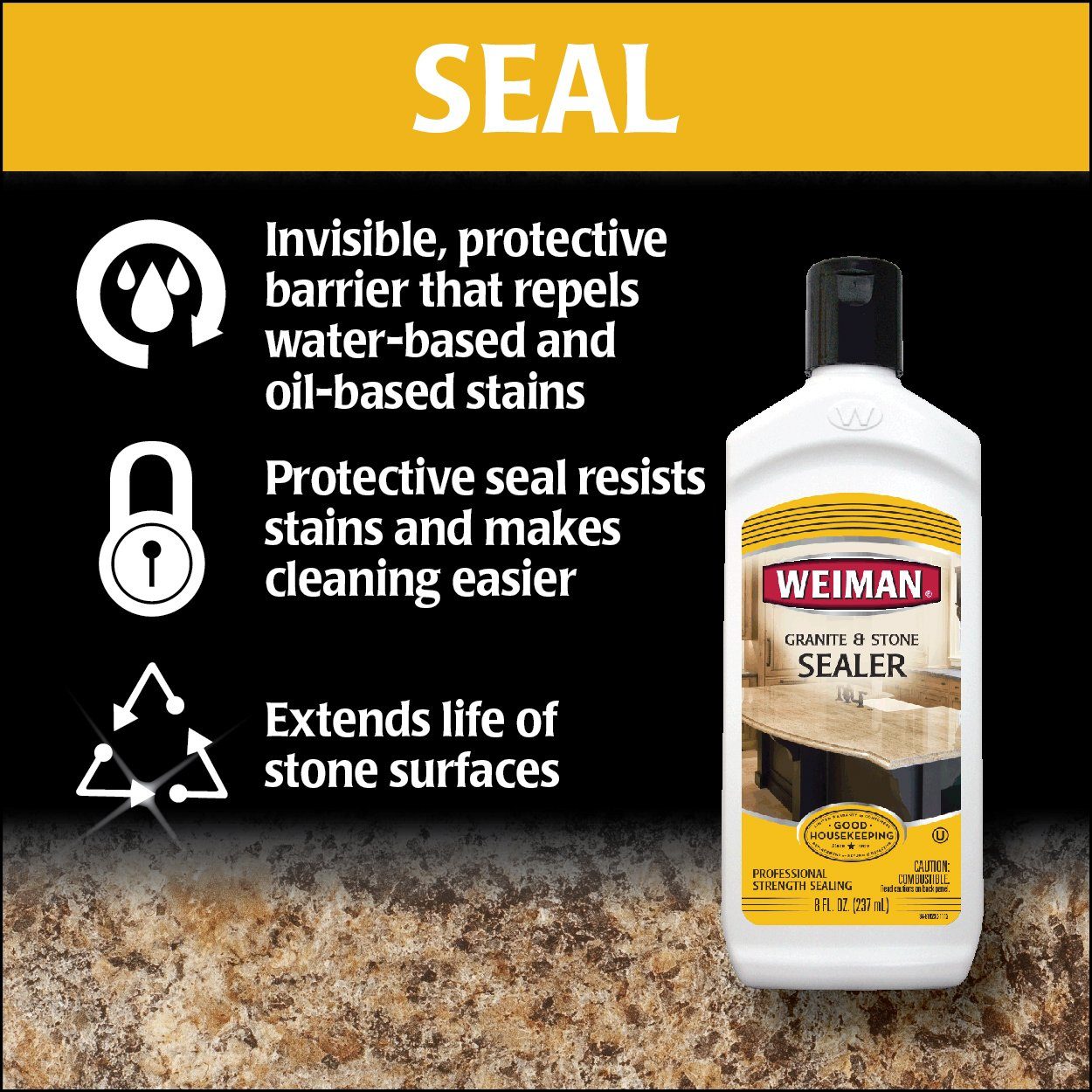 Weiman Granite Cleaner Polish and Sealer - Kit - Seal and Protect For Granite Marble Soapstone Quartz Quartzite Slate Limestone Corian Laminate Tile Countertop and More by Weiman