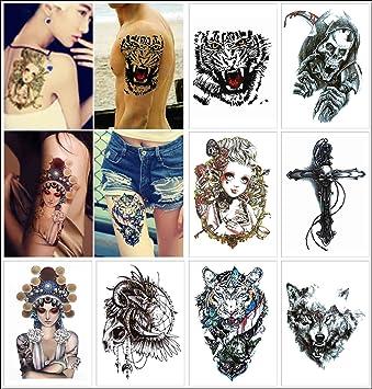 COKOHAPPY 8 Diferente hoja Temporales Tatuaje Tigre Hermosa Mujer ...
