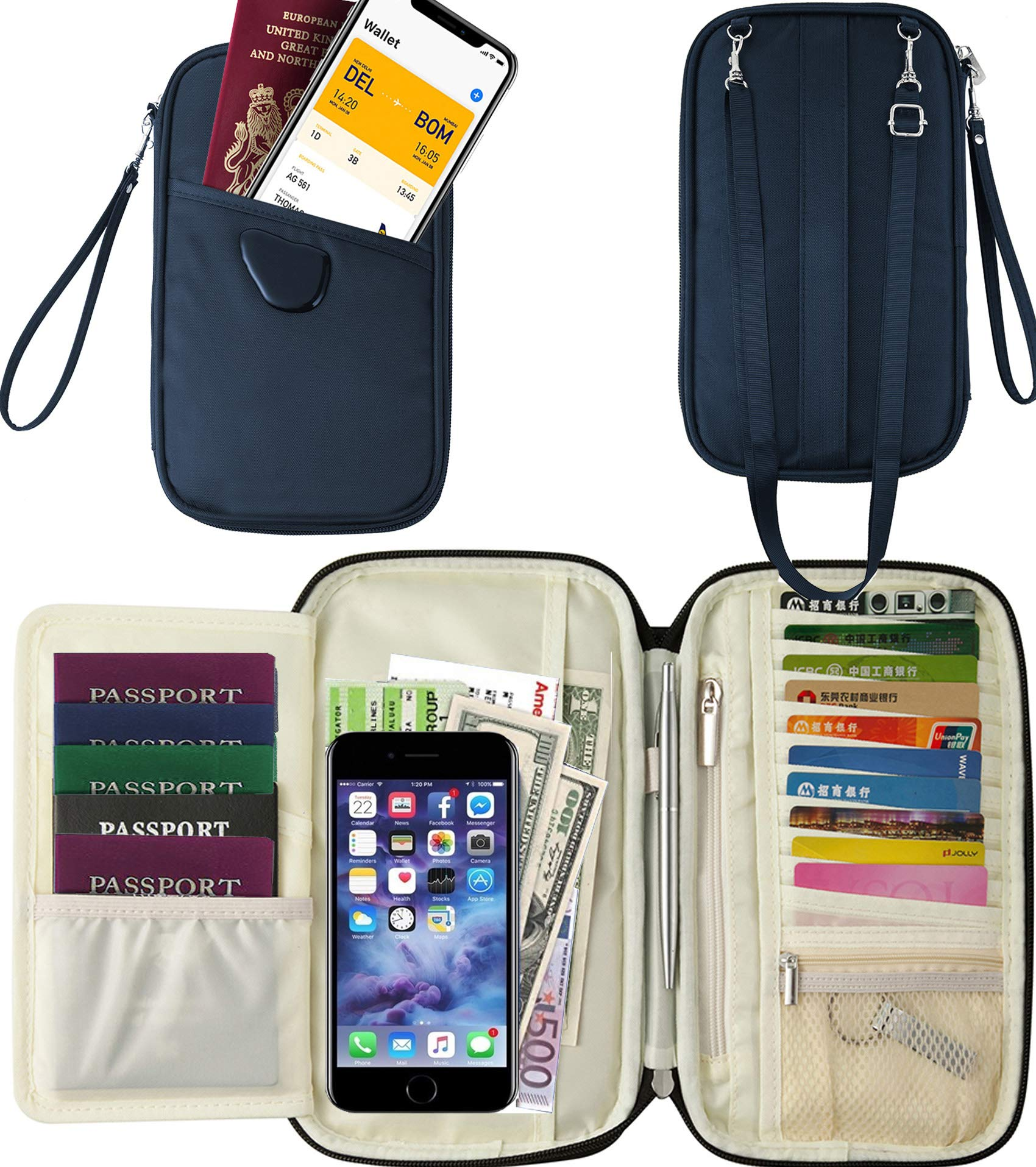 RFID Travel Passport Wallet & Documents Organizer with Neck and Hand Strap(Blue)