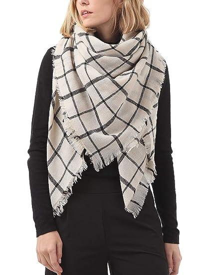 80a2724f8 Century Star Women Oversized Knit Scarf Fashion Plaid Warm Scarves Tartan  Blanket Shawl Wrap Beige One