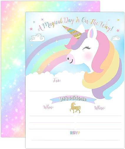 Amazon.com: Yme unicornio invitación de cumpleaños Rainbow ...