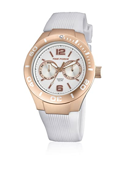 Time Force TF4181L11 - Reloj con correa de silicona para mujer, color blanco/gris: Amazon.es: Relojes