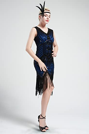 BABEYOND Flapper Vestidos Mujer Estilo 1920 Vestido Vintage con cuello en V con flecos de cuentas Vestido Gran Gatsby: Amazon.es: Ropa y accesorios
