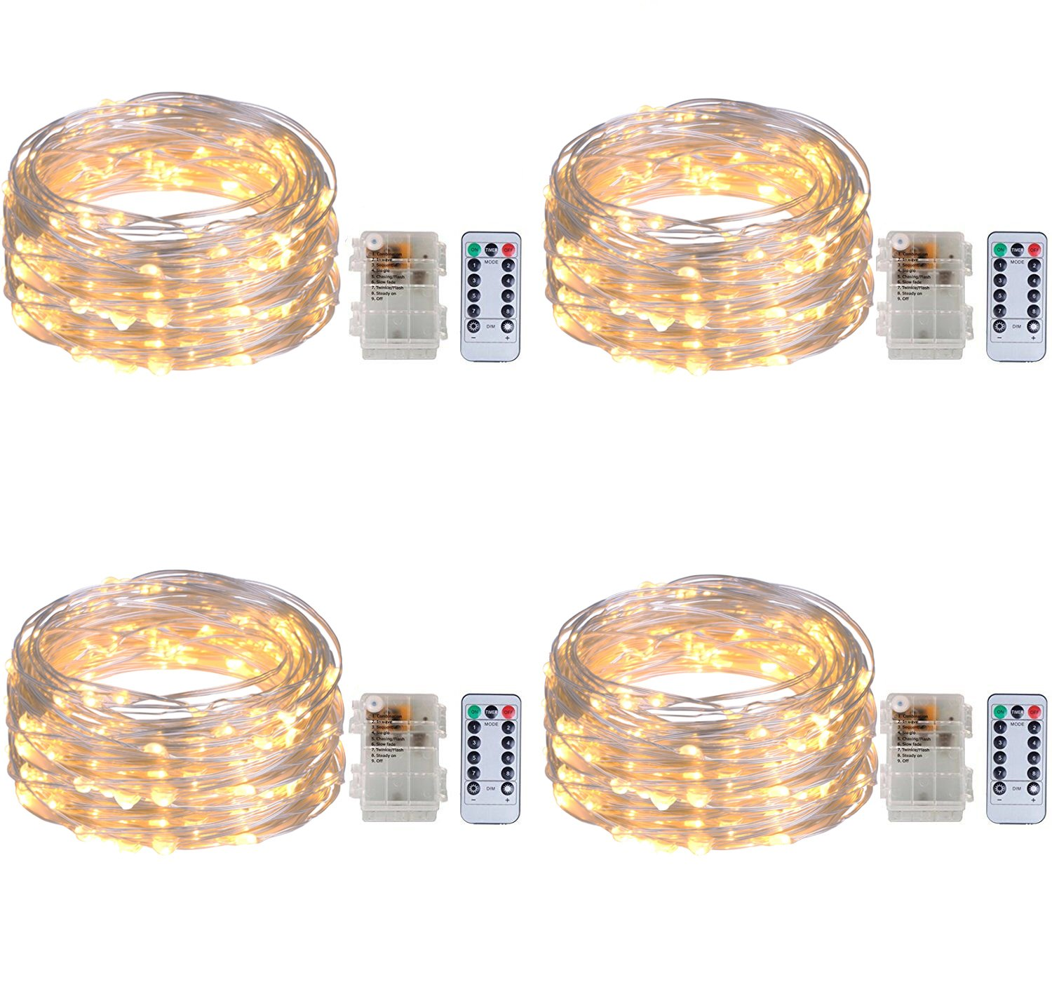 4 Pack Twinkle Fairy String Lights 50 LED 16.4FT Battery Operated Waterproof Firefly Starry Lights with 8 Modes Remote Control and Timer for Wedding Party Garden Bedroom Christmas Decor, Warm White