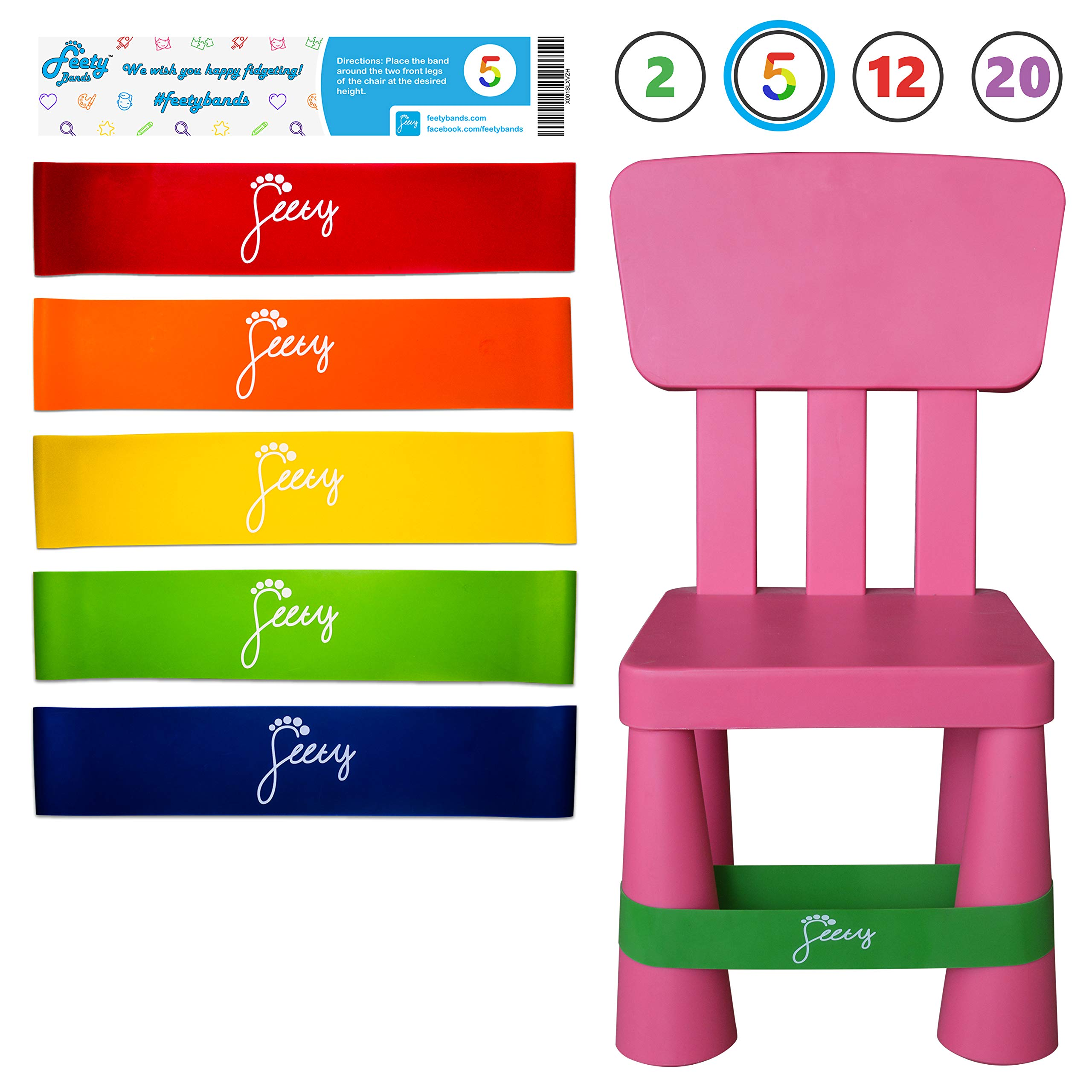 Feety Chair Bands for Kids - (5 Pack) ADHD Bouncy Kick Fidget for Elementary, Middle, High School Students and Fidgety Adults for Classroom Chairs and Desks (Red, Orange, Yellow, Green, Blue) by Feety Bands