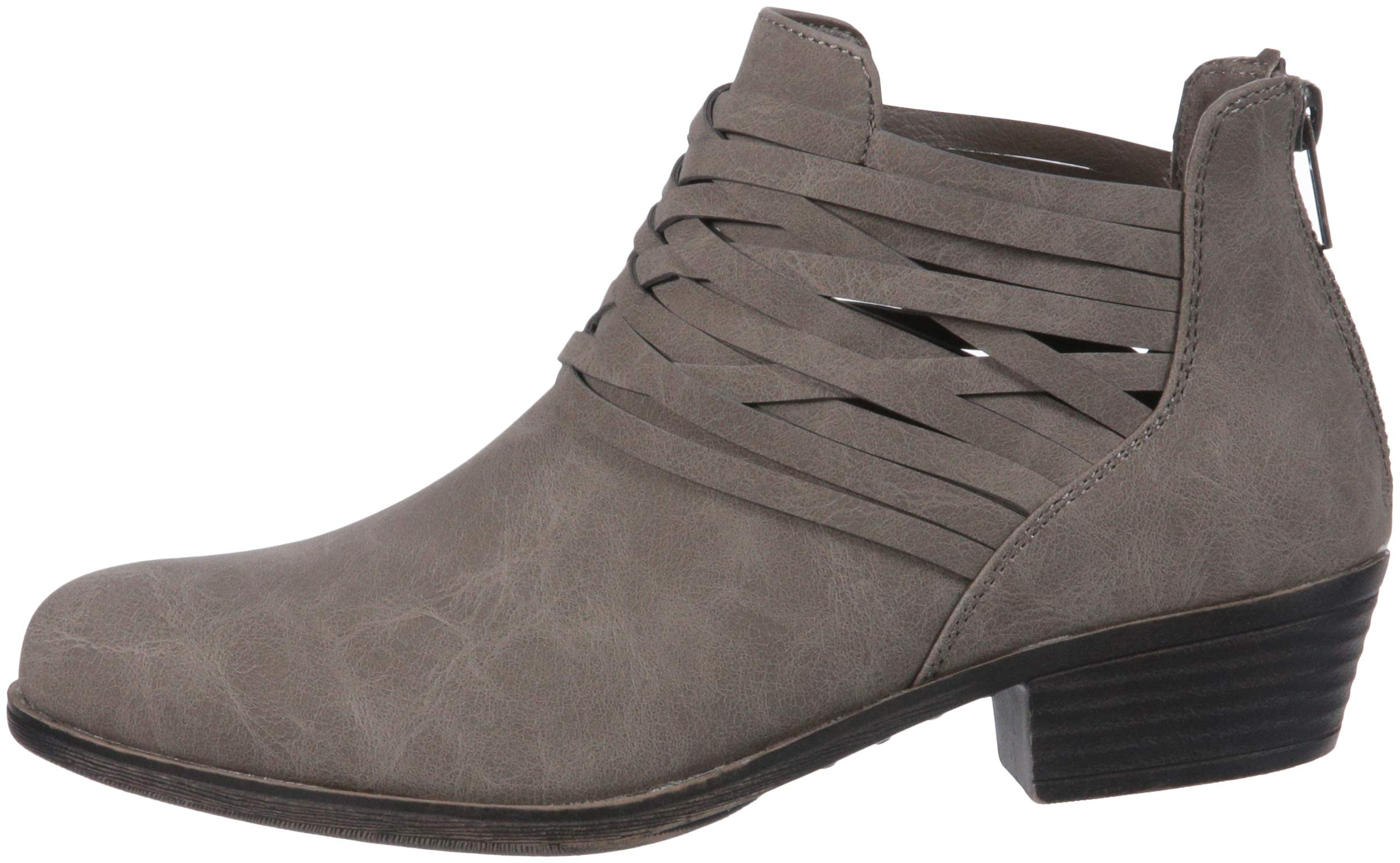 Sugar Women's Rhett Casual Boho Short Bootie with Criss Cross Straps Ankle Boot, Grey Distressed, 9 Medium US by Sugar (Image #5)