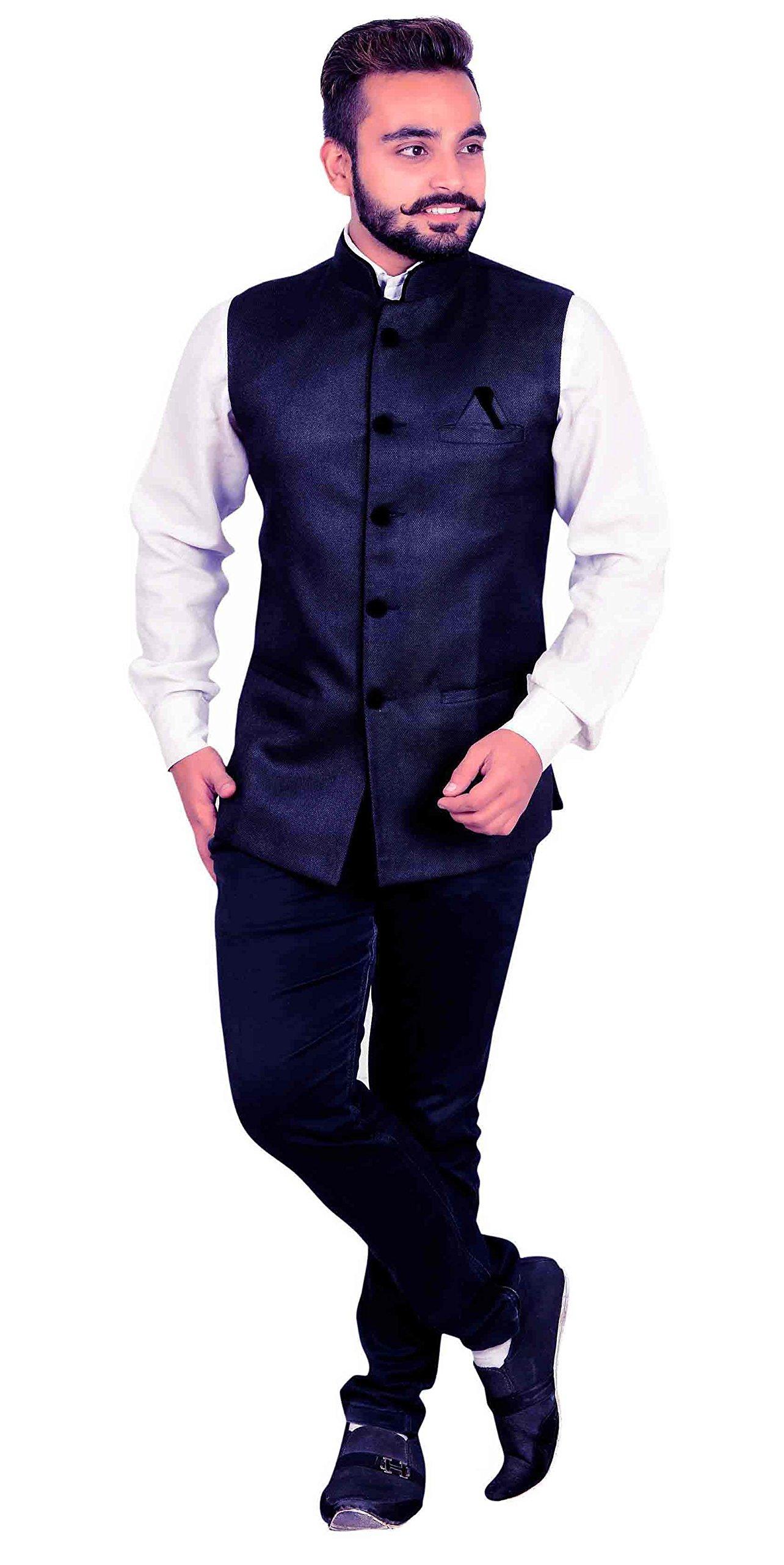 Men's Indian Waistcoat for shalwar kameez for Bollywood theme & wedding party shops London 1006 UK (36 (XS), Navy Blue)