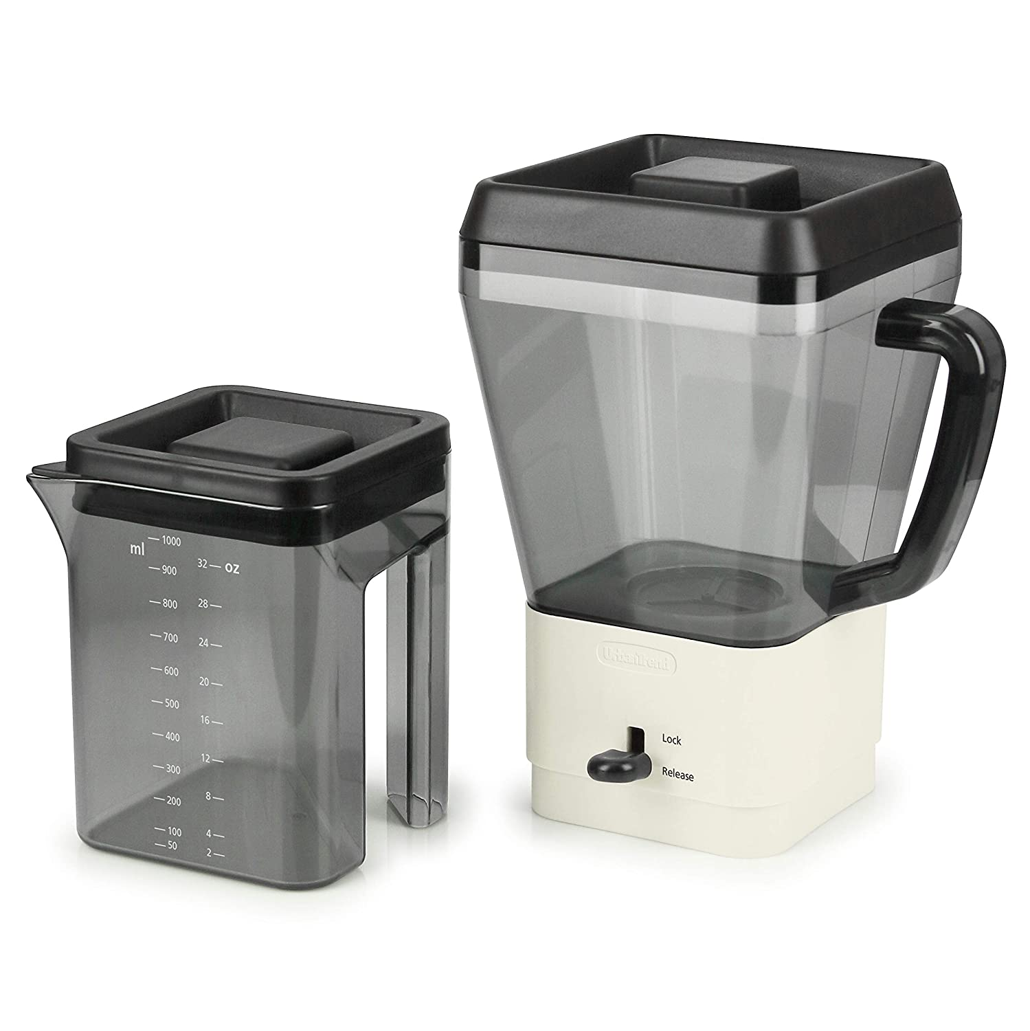 Urban Trend Barista Cold Brew Coffee & Tea Maker - 32 Oz - Bonus Milk Frother - Stainless Steel Filter - Compact Storage - Nesting Lids - Perfect for Hot or Iced Coffee & Tea