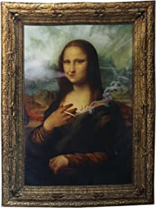 steelplant Stona Lisa Large Vivid Fabric Printed Textile. Mona Lisa Smoking Weed Joint Remix Tapestry high Definition Print on Polyester with Sewn Edge