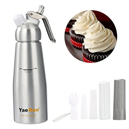 Yaekoo Whipped Cream Dispenser 12 Liter Canister Whipper Durable