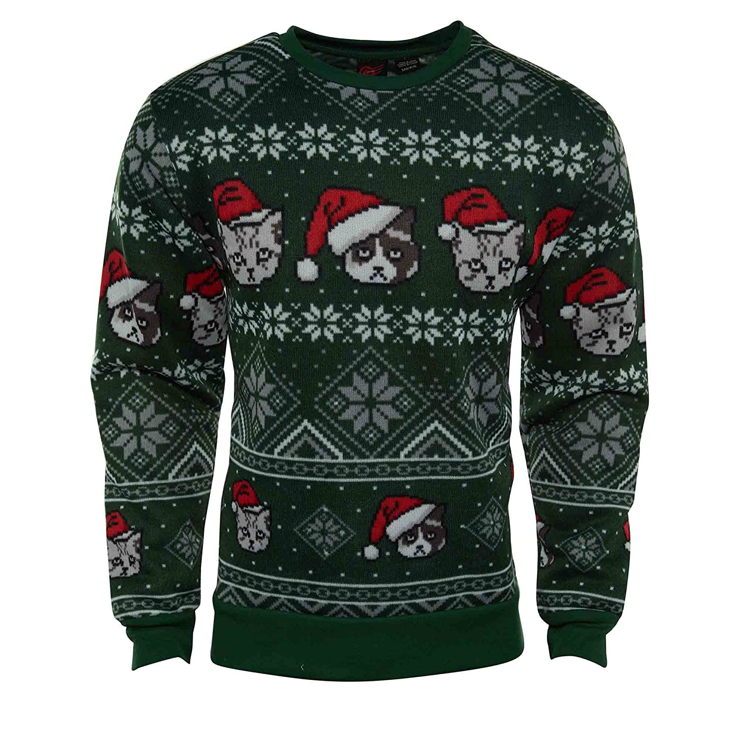 Men's Cat Lovers Holiday Catz Ugly Sweater Christmas Sweatshirt (X-Large) Mad Engine