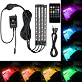 AUTOUTLET 4 X Car Interior Footwell LED RGB 8 Color Changing Music Remote SMD Strip Light