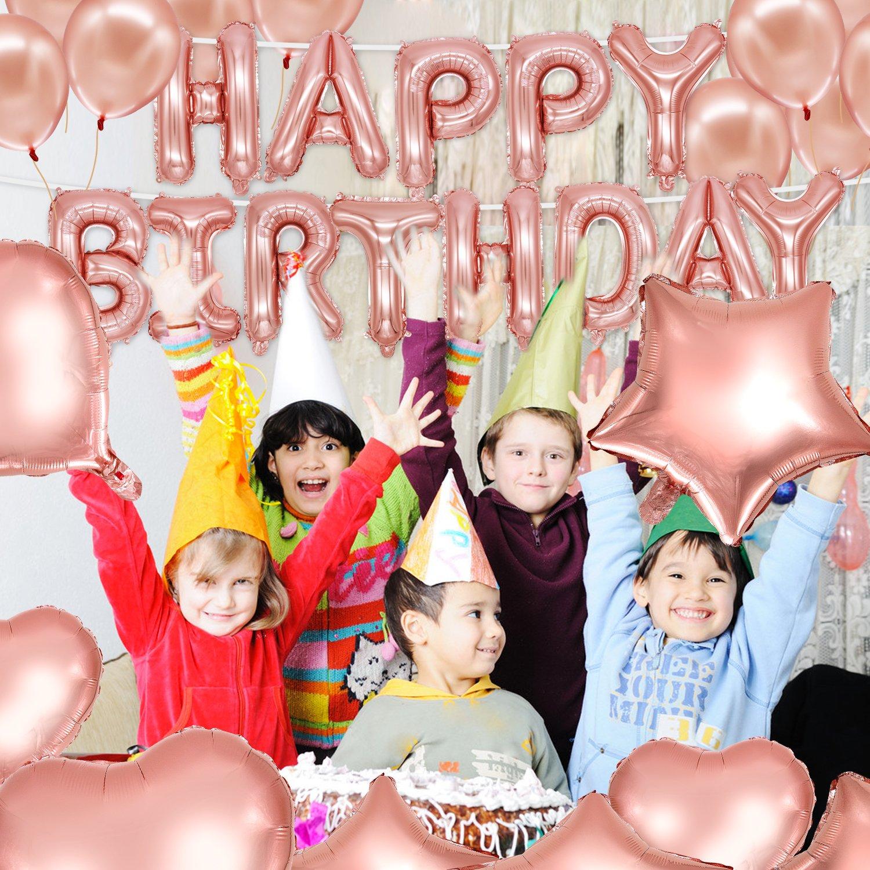Striscione Decorativo per Compleanno 10 coriandoli Confezione da 4 40 coriandoli Dorati in Lattice 4 Rotoli di Nastro per Palloncini HusDow 70 Pezzi