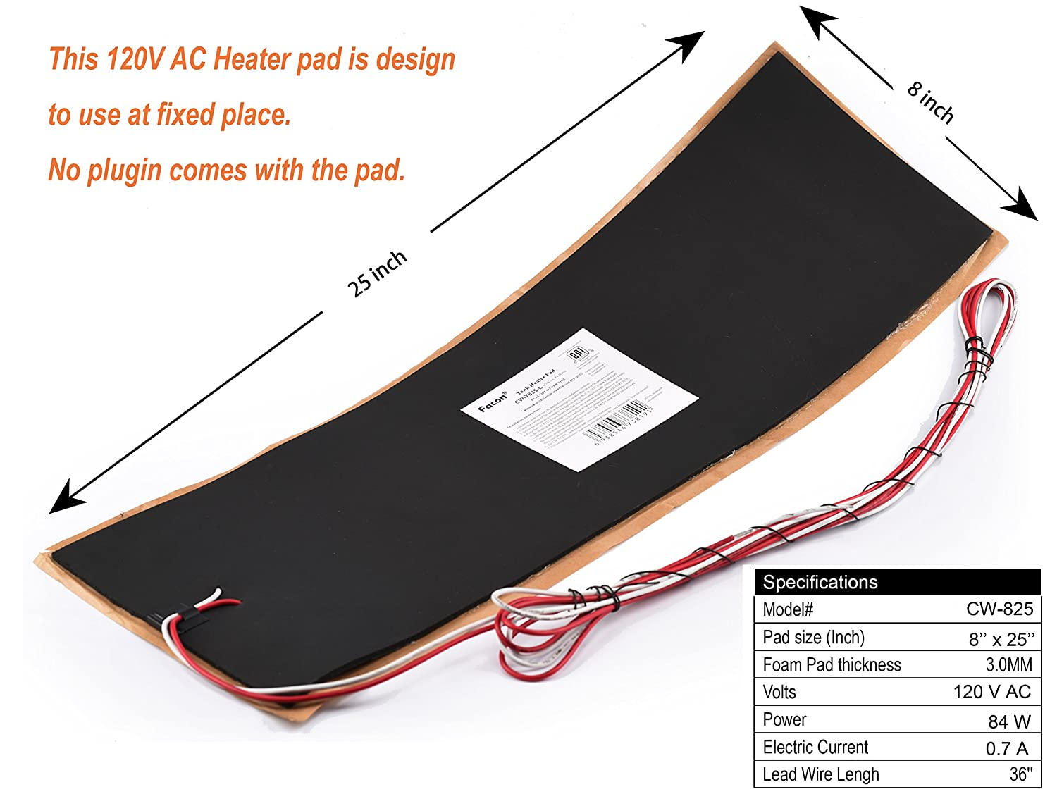 Facon 8.0x25 110Volts AC Water Holding Tank Heater Pad with Automatic Thermostat Control Pack of 1
