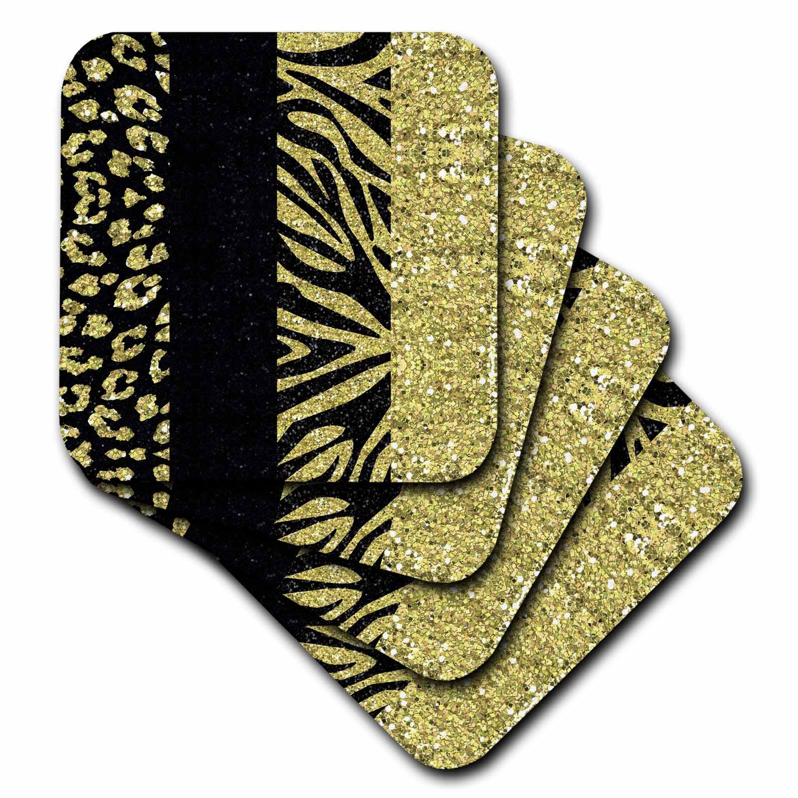3dRose cst_128556_2 Printed Glitter Effect Gold and Black Animal Print Leopard and Zebra Soft Coasters, Set of 8