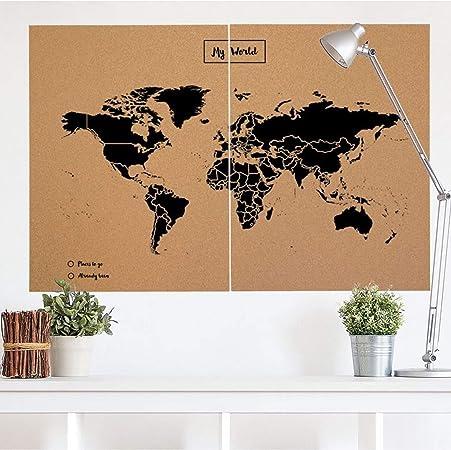 Miss Wood 8436563400124 Mapa Del Mundo de Corcho, 0.4X90.0X120.0 Cm, Negro, Set de 2: Amazon.es: Hogar