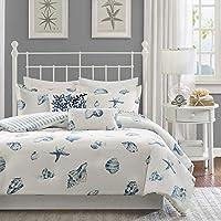 Harbor House Beach House Duvet Cover Twin Size - Blue, Ivory , Seashells Duvet Cover Set – 2 Piece – 100% Cotton Light…