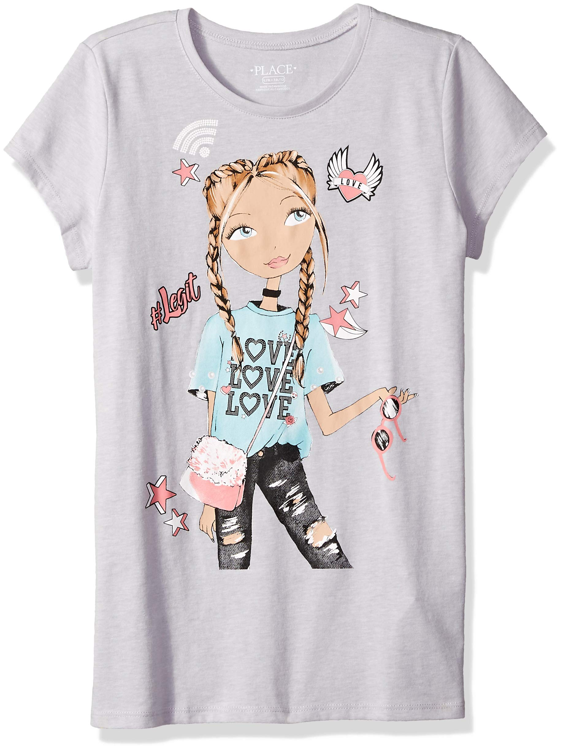 The Children's Place Big Girls' Short Sleeve Graphic Tees, Sample/dye ice cave, XS (4)