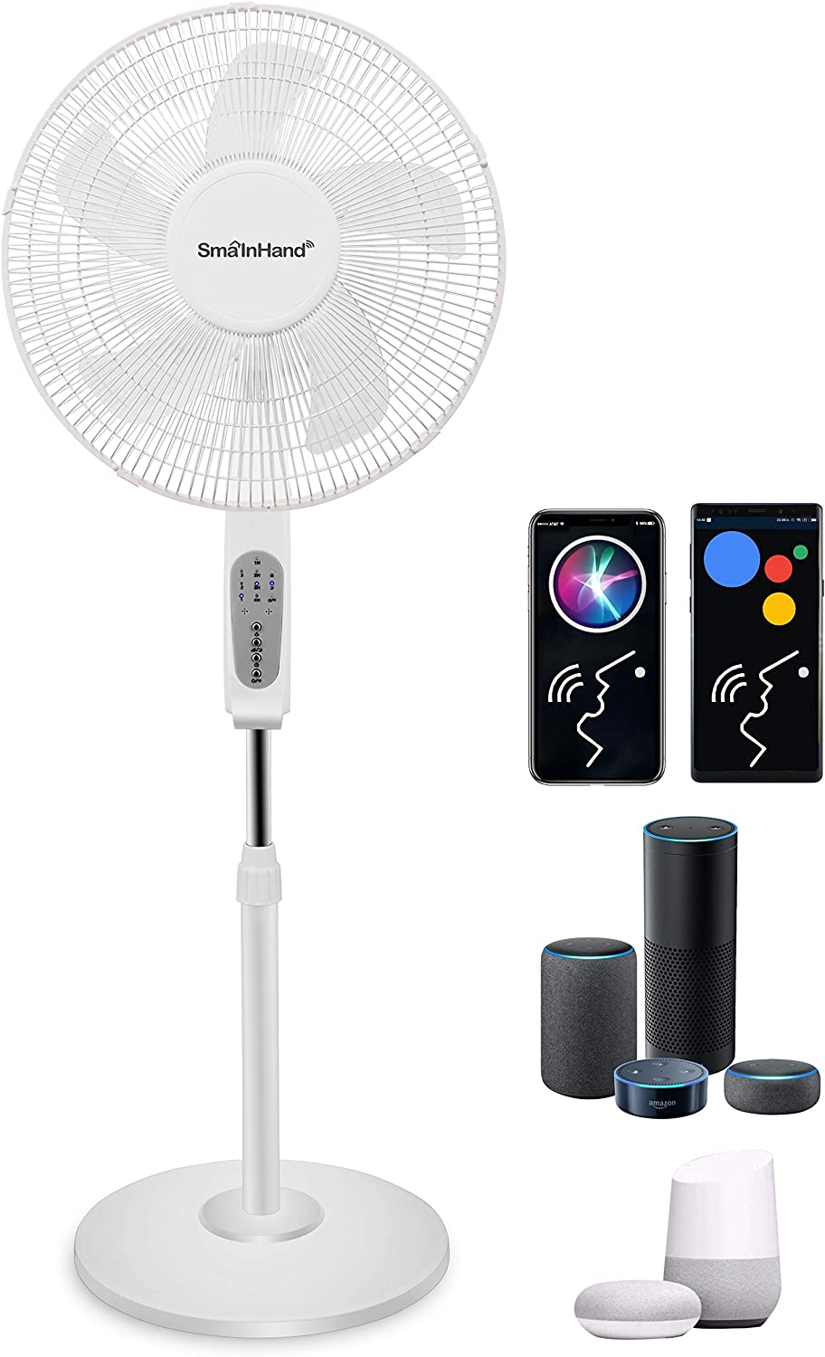 Fan, Phone Voice Control Oscillating Fan, Alexa Google Remote Control Floor Fan, WiFi Smart Bed Fans Oscillating, SmaInHand Stand Up Fans For Home, House Standing Fan, Pedestal Fans For Bedroom Cooling and Sleep, Room Quiet Electric Shop High Velocity Rotating Tall Large Big Air Fan