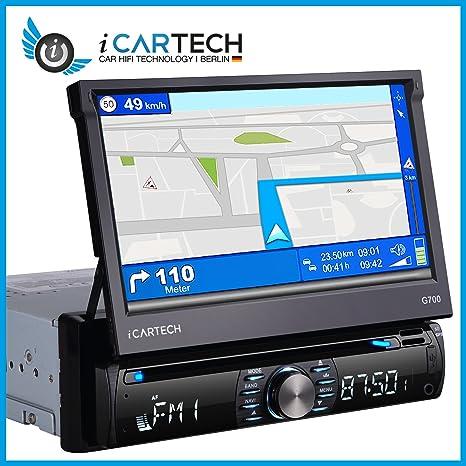 ICARTECH G700 1-DIN – radio de coche GPS navegación – Manos Libres – 800