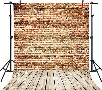 Sensfun 5x7ft Brick Wall Wood Floor Backdrop for Photography Vintage Rustic Brown Wooden Children Adult Portrait Background Vinyl Video Studio Photo Booth Props