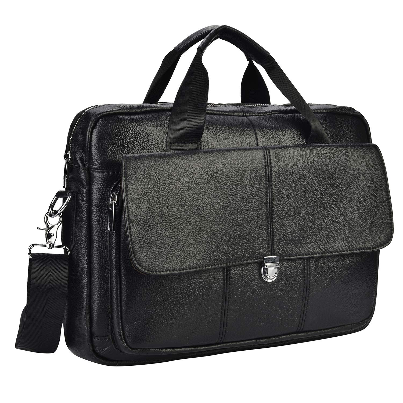 Mens Vintage Genuine Leather Handmade Laptop Briefcase Work Bag Messenger Shoulder Work Bag Crossbody Handbag for Business Travelling (BF2-BLACK)