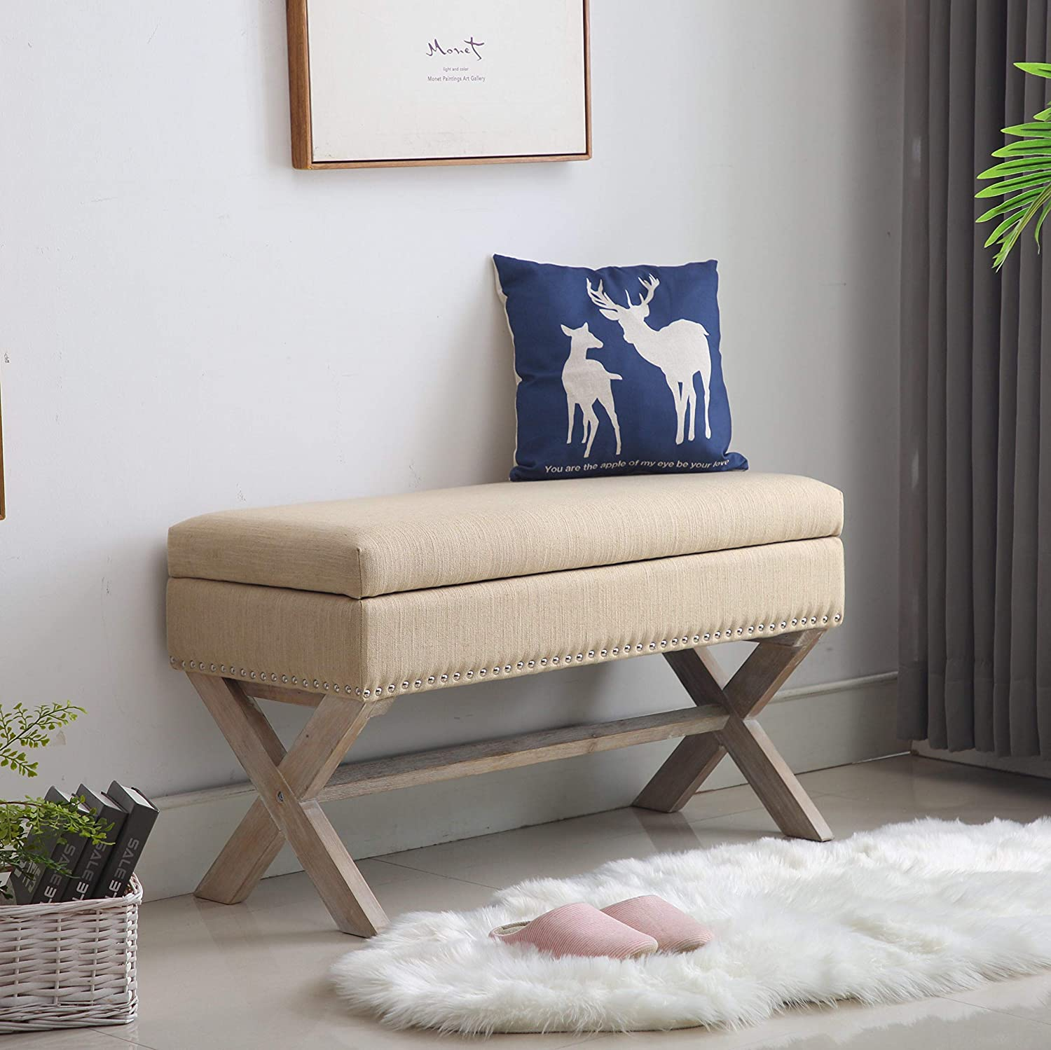 Upholstered Storage Benches, Fabric Bed Side Bench Ottoman with X