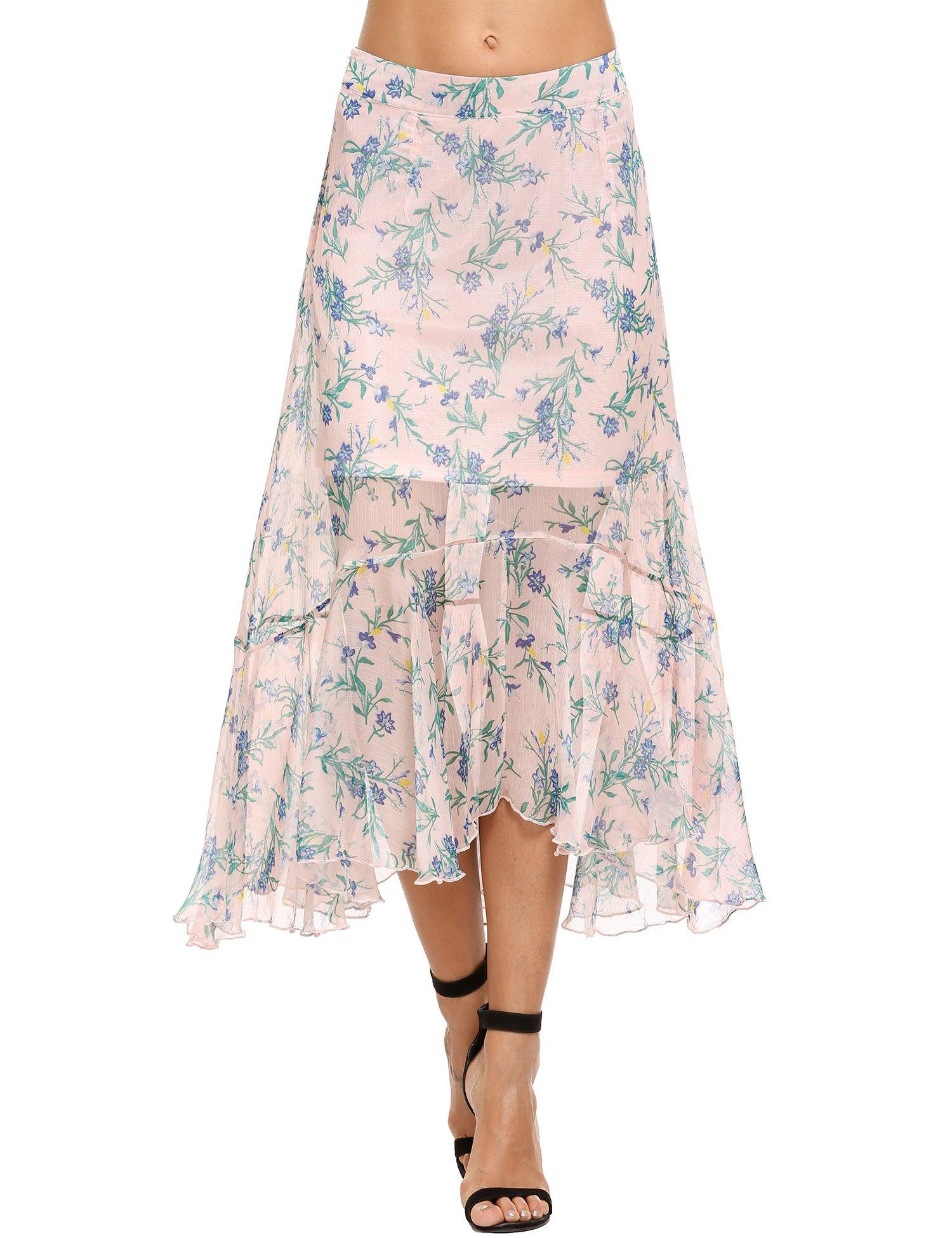 Zeagoo Women's Retro Vintage Summer Chiffon Pleat Long Skirt