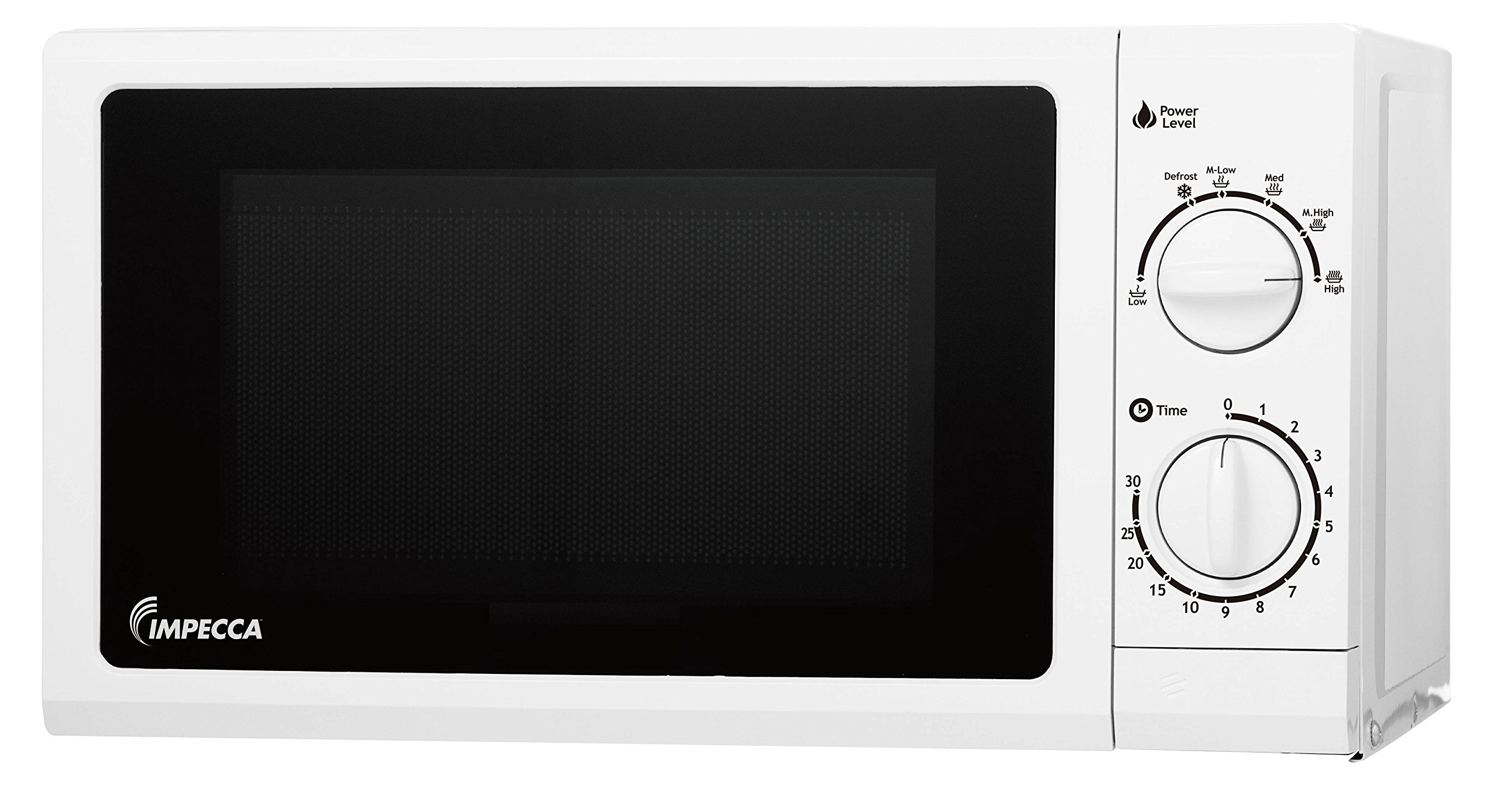 Impecca 700 Watts Lightweight Microwave Oven -120v 0.6 Cubic Feet Countertop Microwave Oven, White Digital Microwave (White)