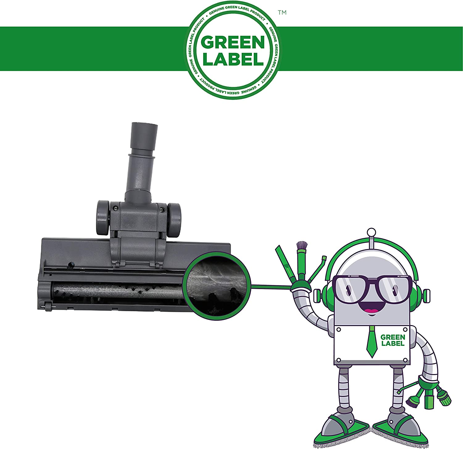 Green Label Universal Turbo Head Floor Brush Tool 32-35 mm for Most Vacuum Cleaners: Hoover, Dirt Devil, Bissell, Miele, Samsung, Electrolux, Kenmore, Panasonic, and more