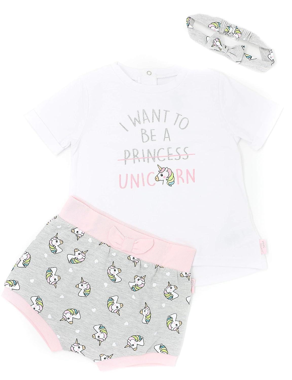 Mini Heroes - Baby Girls' 3-Piece Unicorn T-Shirt, Short & Headband Set NTD Apparel