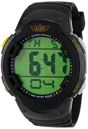 75bf48e2a Amazon.com  Uzi Men s Uzi-89-R The Guardian Black Rubber Strap Watch   Watches