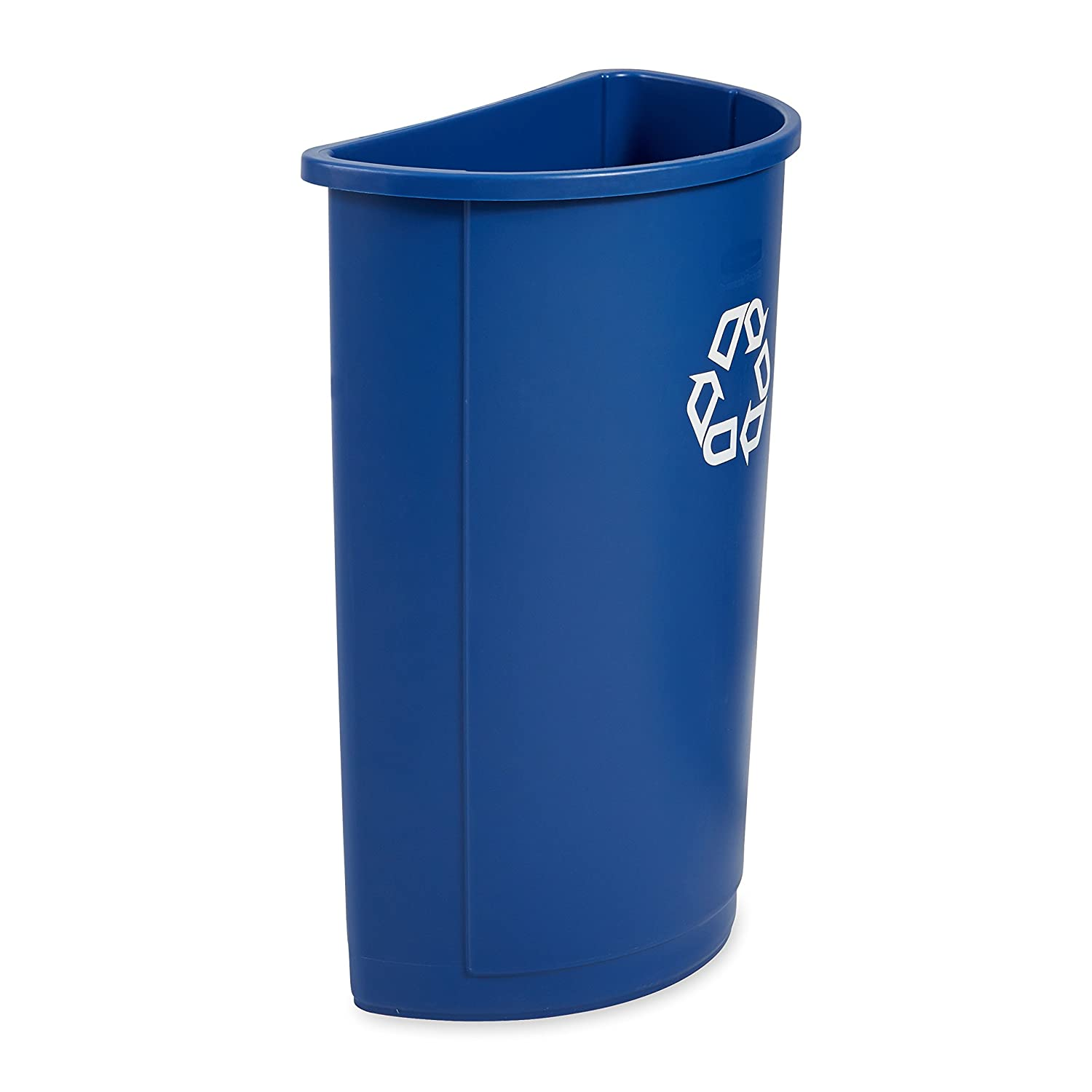 Rubbermaid Commercial Half Round Recycle Bin, 21-Gallon, Blue