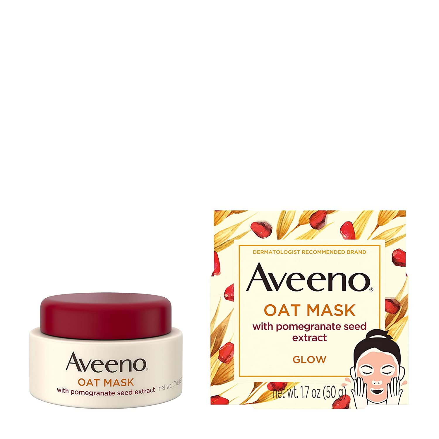 Amazon Com Aveeno Oat Face Mask With Pomegranate Seed Extract Kiwi Water And Prebiotic Oat Hydrating Full Face Mask For Glowing Skin Paraben Free Phthalate Free 1 7 Oz Health Personal Care