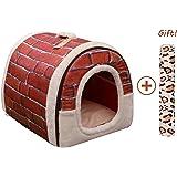 Cama/Caseta Perro Gato Interior 2 en 1, Casa Mascota Grande o Pequeño, Lavable Plegable Portátil, Cueva de Viaje para Perros Medianos Pequeños y Gatos (M:45cmx35cmx35cm, Rojo)