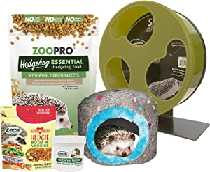 Exotic Nutrition Starter Package for Hedgehogs - Includes Exercise Wheel, Healthy Food, Natural Treat, Multi-Vitamin & Hideout