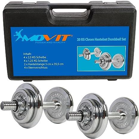 MOVIT - Conjunto de mancuernas cromadas de hierro fundido de 20 kg, incluye 2 barras