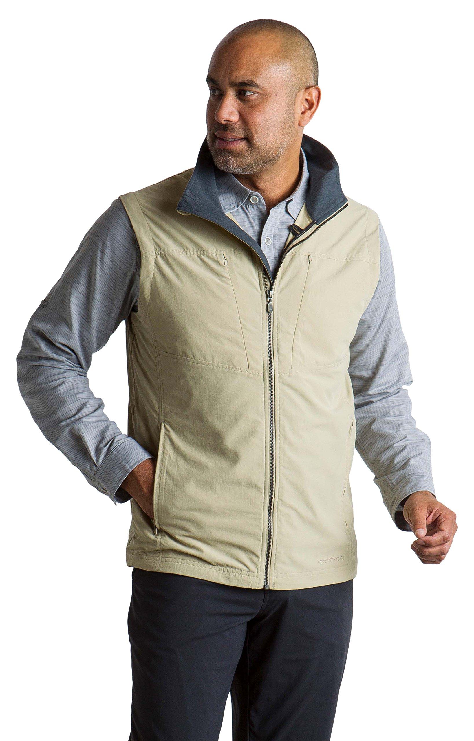 ExOfficio Men's Sol Cool FlyQ Water-Repellent Travel Vest, Light Khaki, Medium