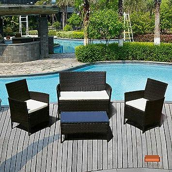 BOJU - Juego de 4 sillas y Mesa de ratán para jardín, Incluye ...